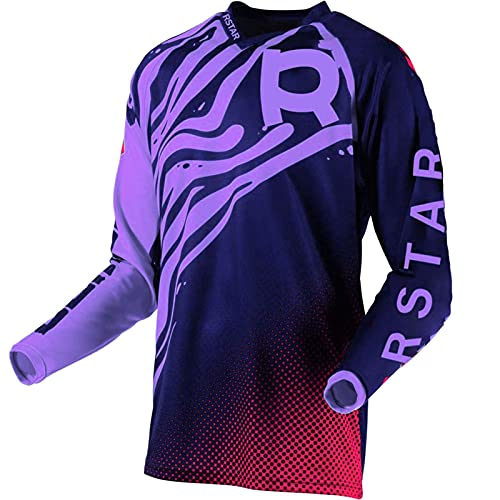 Rstar Cycling Jersey Youth Size MX Motocross Syncron Jerseys Dirt Bike Downhill Racing Riding Shirt for Boys Girls Kids (Lightpurple,L)