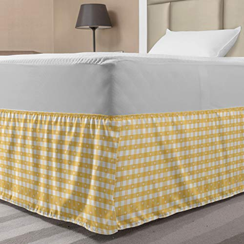 Ambesonne Vintage Yellow Bed Skirt, Gingham Pattern with Bicolor Checkered Squares with Heart Motifs, Elastic Bedskirt Dust Ruffle Wrap Around for Bedding Decor, Full, Mustard and White