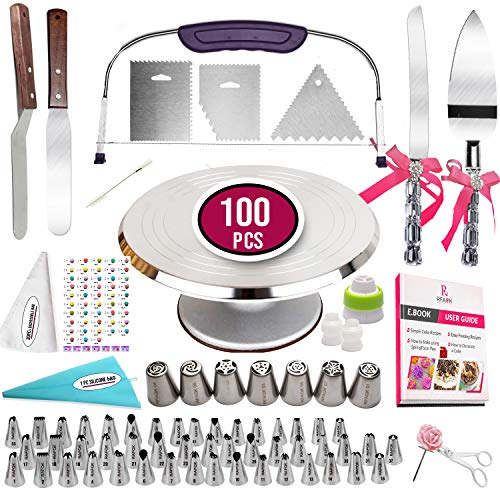 100pcs Cake Decorating Kit with Aluminum Metal Turntable-Rotating...