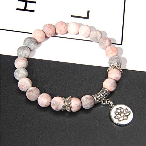 aolongwl Pulsera hecha a mano de piedra natural Lotus Ohm Buddha Beads Bracelet Pink Zebra Stone Lotus Charm pulsera para mujeres hombres Yoga joyería regalos