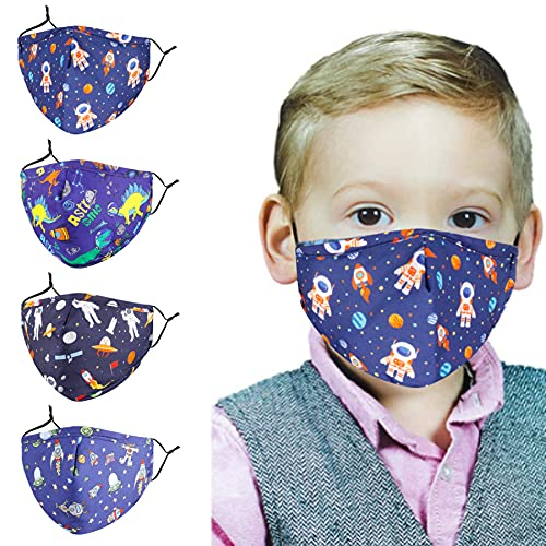 Washable Reusable Kids Face Mask Adjustable Ear Loops , Dinosaur Camouflage Shark Breathable Cloth Cotton Covering for Protection Fabric Cute Designer Madks Facemask Girl Boy Children Toddler Gift