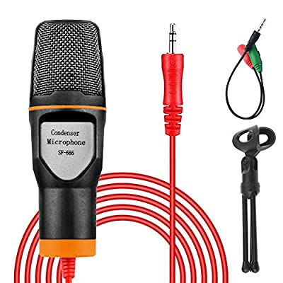 VIDEN PC Microphone, 3.5mm Jack Condenser Recording Microphone with Mic Stand for PC Plug & Play Youtube Microphone with Tripod Stand & Pop Filter for iMac PC Laptop Desktop Windows Computer