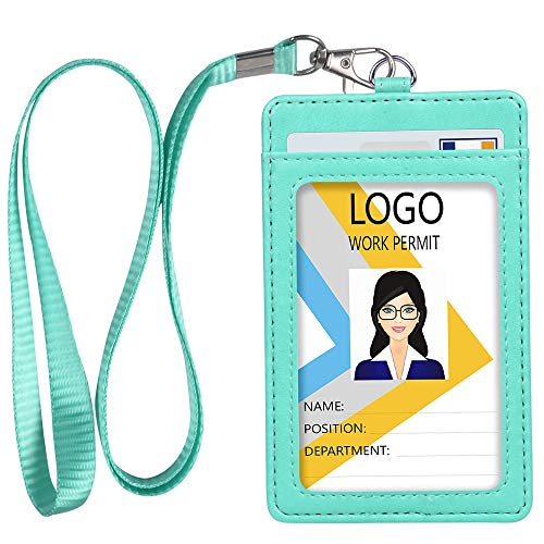 Leather ID Badge Holder, Vertical PU Leather ID Badge Holder with 1 Clear ID Window & 1 Credit Card Slot and a Detachable Neck Lanyard (Green)