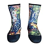 FACALH 2 Pairs Thicken Anti-Cold, Neoprene Warm, Non-Slip, Waterproof Long-Tube Diving Socks,Blue,S