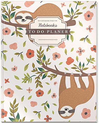 DÉKOKIND To Do Planer | DIN A4, 100+ Seiten, Register, Vintage Softcover | Dickes Checklistenbuch | Motiv: Faultiere