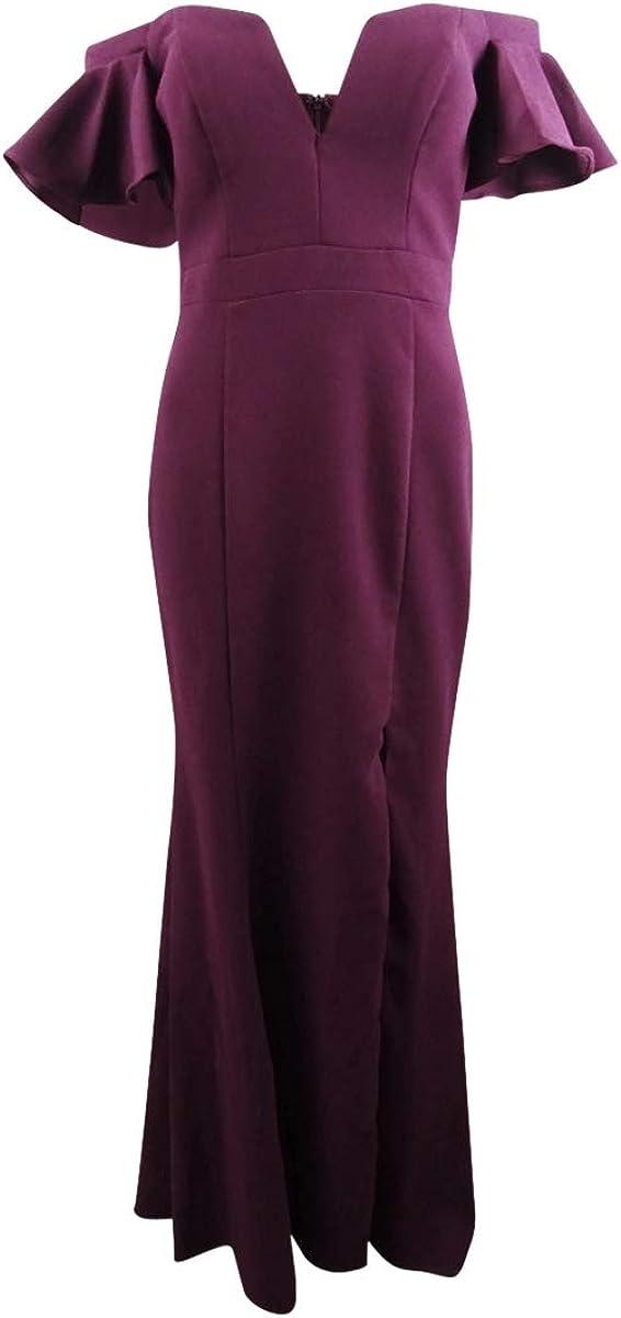 Xscape Womens Off-The-Shoulder Ruffled Evening Dress Purple