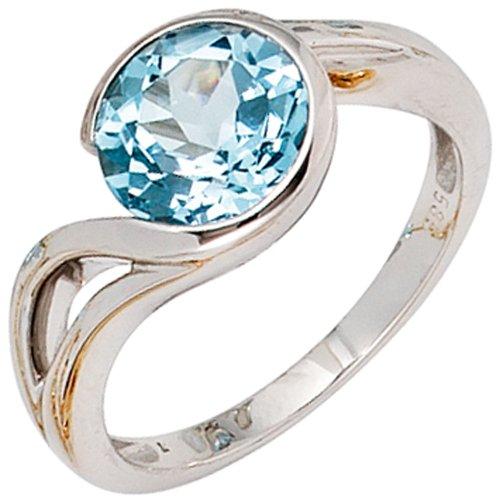 JOBO Damen-Ring 585 Gold Weißgold 1 Blautopas Größe 58
