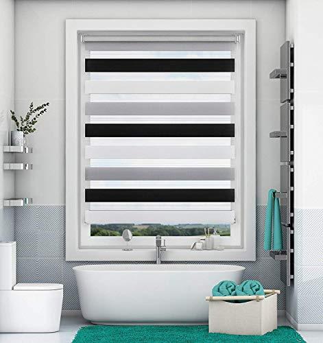 Magiea Doppelrollo Duo Rollo Klemmfix ohne Bohren, Weiß-Grau-Anthrazit 85 x 140 cm (BxH), Klemmrollo Sonnenschutzrollo Fensterrollo für Fenster und Tür, lichtdurchlässig und verdunkelnd