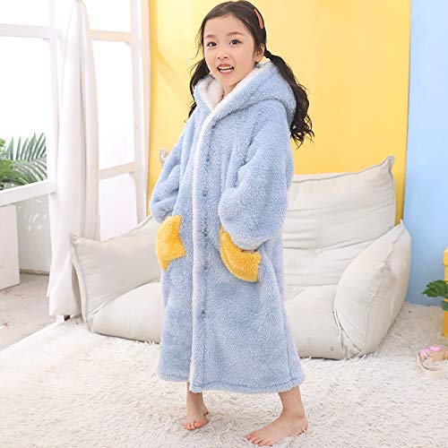 Albornoz Bata para Mujer Niños Franela Albornoz de la Ducha del paño Grueso y Suave Pijama de Dormir del bebé del Invierno con Capucha Toalla Batas Adolescentes Pijamas Caliente camisón Pijama