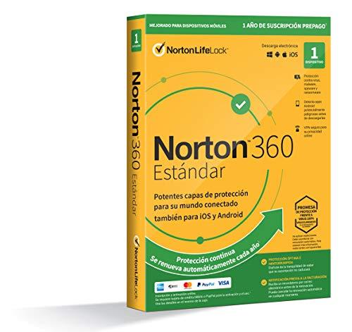 Norton 360 Estándar 2021 - Antivirus software para 1 Dispositivo y 1 año de suscripción con renovación automática,...