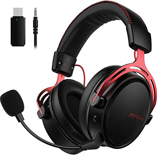 Mpow Air Wireless Gaming Headset - PS4 Headset with Double Chamber Drivers, Noise Cancelling Microphone, Memory Foam Gaming Headphone