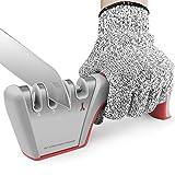 Afilador de Cuchillos, Afilador de Cuchillos Manual de 4 Etapas con Base de Acero Inoxidable Antideslizante para Kinfe Cuchillo Tijeras (Guante Resistente a Cortes Incluido)- Rojo