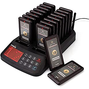 Tivdio T115 Restaurant Pagers Wireless Paging Queuing Calling System 99 Channel Waterproof with Keypad Transmitter and 18 Rechargeable Pagers for Client in Restaurants Hospitals Churches Coffee Shops and Snack Bar (Black)