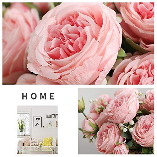 Aurely Kunstbloemenboeket, 5 hoofden, kunstmatig pioenrozenzijdebloemenboeket, bloemenplanten voor bruiloftsdecoratie, thuis, hotel