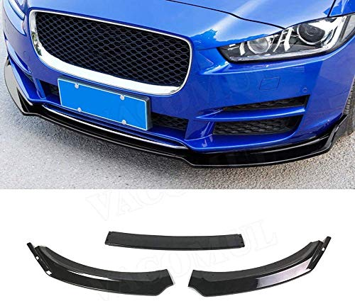 QTCD 3 Pieces Ford Abs Jaguar Xe 2017-2018 Black Abs Gloss Black Car Front Lower Bumper Lip Diffuser Spoiler Body Kit