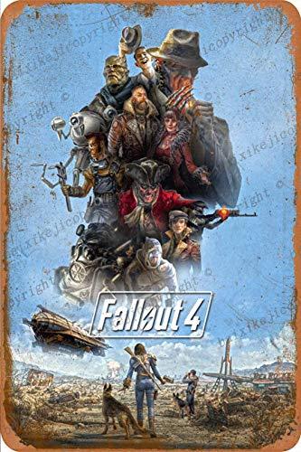 Fallout 4 Poster Cartel de Chapa Retro, Cartel de Pared, Placa de Metal Vintage, Garaje, Oficina, Bar, cafetería, decoración, 20 × 30 cm