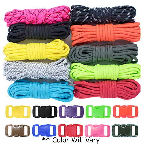 West Coast Paracord Zesty 550lb Survival Paracord Random Combo Crafting Kit 10 Colors of 500lb Cord and 10 Buckles  Type III Paracord  Make 10 Paracord Bracelets  Great Gift Zesty 100 Feet