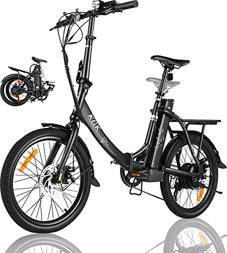 KGK Adult Folding Electric Bike 20'' Electric Mountain Bike for Women Men, Foldable Electric Bicycle Bikes for Adults 350W Ebike Electric City Commuter Bike Bicycle with Removable Lithium Battery