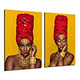Black And Gold Sexy Lips Nude African Art Woman 2 Pieces Poster Painting On Canvas Bedroom Decoration Pictures Home Decor (No Framed,16x24inchx2)