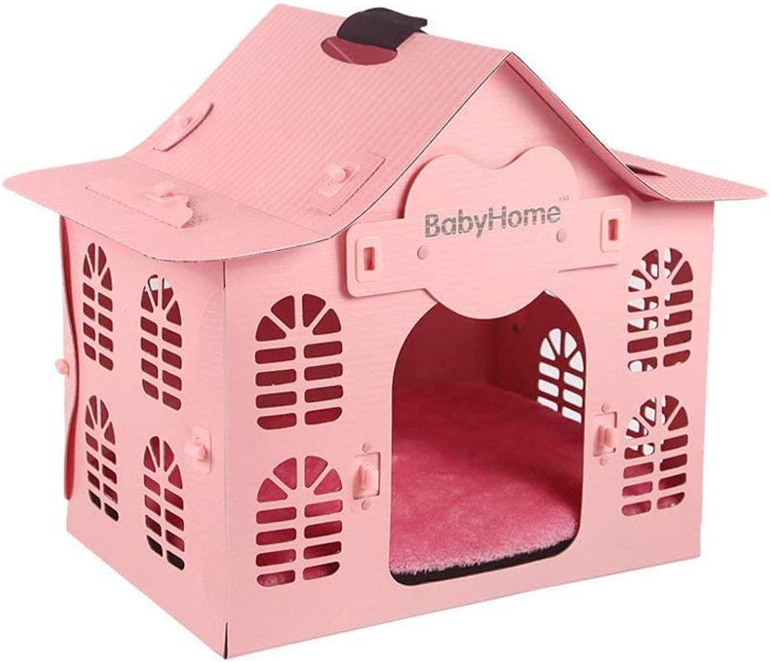 Pink Deluxe Breathable Ventilated Summer Plastic Dog Cat Puppy Pet House Kennel Removable Washable Bungalow Villa
