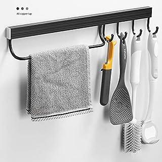 Support mural pour ustensiles pour cuisine et salle de bain avec 1 poteau et 4S coulissants, supports de rangement pour ca...
