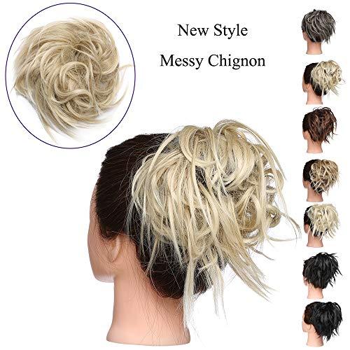 Extension Chignon Capelli Finti Messy Hair Bun Elastico Posticci Ricci Biondi Updo Ponytail Extensions Coda di Cavallo 45g, Biondo Cenere mix Biondo C