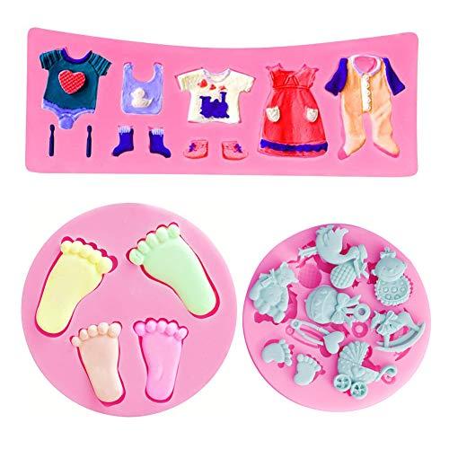 SUNSK Silikon Fondant Kuchen Formen 3D Baby Fußabdruck Motive Baby Kleidung Formen Schokoladenformen DIY Kuchen Süßigkeiten Gelee Backformen Tortedeko 3 Stück
