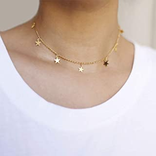 Linkqin Star Necklaces for Women Girls Star Choker Necklace Adjustable(Gold)