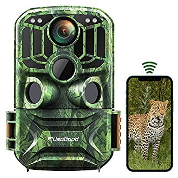 Trail Camera WiFi usogood 24MP 1296P Infrared Night Vision Hunting Camera Motion Detector Send Picture to Phone Game Wildlife Cam with Timer Time Lapse 120° Wide Angle IP66 Waterproof 940nm
