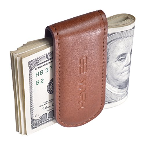 Leather Money Clip - Strong Magnets Holds 30 banknotes - for Men - Cash & Card - Gift Box (brown)