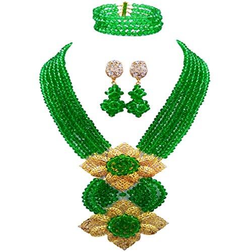 aczuv Fashion African Bead Necklace Nigerian Beads Wedding Jewelry Sets for Women (Green)
