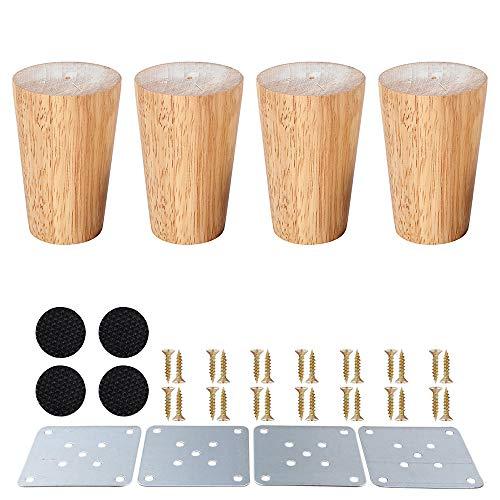 SURFMALL 4 Stück Ersatz Möbelfüße Möbelbeine, Holzfarbe Aus Eiche für Stühle, Schrank und Sofa, mit Schrauben und Filzgleiter, 8 x 5 x 3,8 cm gerade