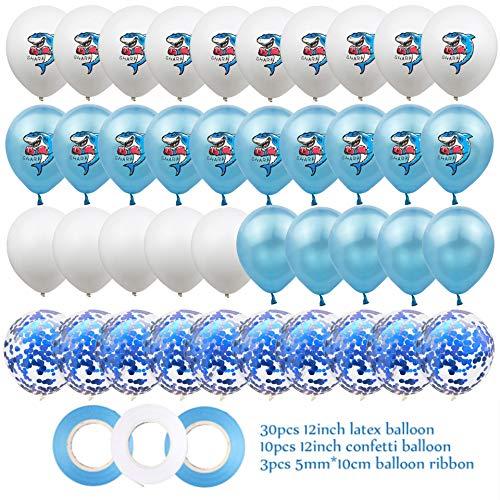 KAEHA SUN-064-02 40 stuks 30,5 cm latex ballonnen voor feest onder de zeehai met 3 banden, blauw