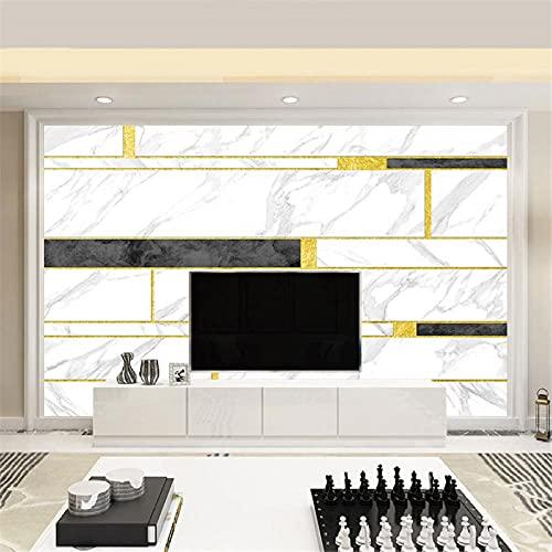 BLZQA Fotomurales Papel pintado tejido no tejido Murales moderna Patrón geométrico dorado Arte de la pared Decoración de Pared decorativos 350x250 cm-7 panelen