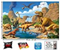 Great Art Poster Childrens Room Dinosaur Adventure - Wall Picture Dino World Decoration Comic Style Jungle