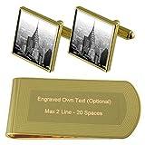 Select Gifts Edificio Chrysler Nueva York Tono Oro Gemelos Money Clip Grabado Set de Regalo