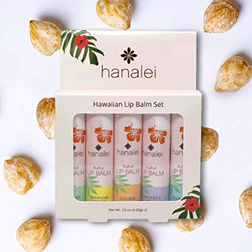Hanalei Lip Balm and Moisturizer: Natural Hawaiian Kukui Oil and Beeswax Lip Balm to Replenish and Repair Dry, Chapped Lips (Available in 5 Tropical Scents) (5-set Pack)