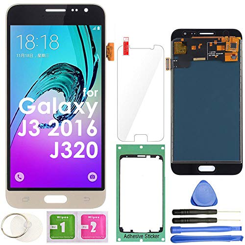 for Samsung Galaxy J3 2016 Screen Replacement LCD Display Touch Screen Digitizer (Gold) J320 J320M J320A J320H J320F J320P J320Y J320DD J320R4 J320DS / Sol (Cricket) j321 /Sky S320 S320V S320Z S320VZ