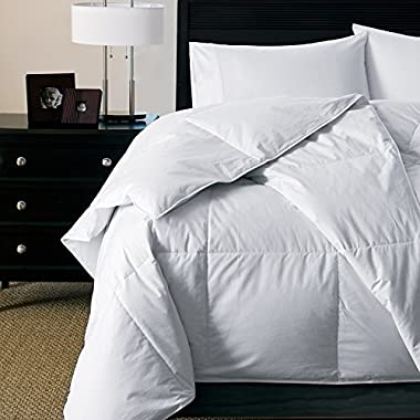 Luxury Light Weight Hypoallergenic 600 Fill Power White Goose Down Comforter - Perfect For Summer - Warm Weight Level (Queen 90  x 90 )