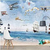 Iusasdz カスタム3Dノルディック航空機帆海大型テレビ背景壁紙壁画120X100Cm
