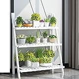 3 niveles Estantería para plantas en bambú, para macetas, estantería para flores, estantería para jardín estanteria macetas estanteria plantas estanteria para macetas, 70 x 40 x 96cm blanco