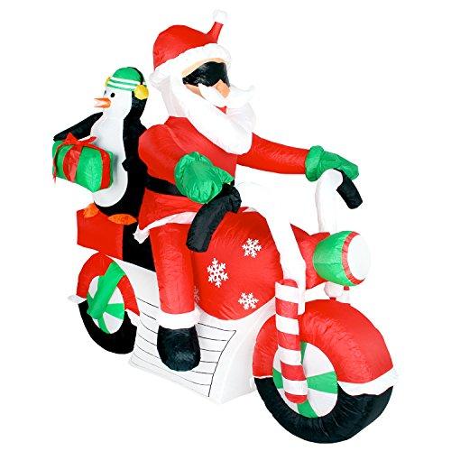 Pridea Weihnachtsmann und Pinguin auf Motorrad 150cm große Weihnachtsbeleuchtung selbstaufblasend