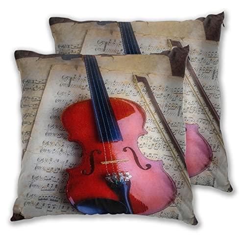 NANITHG Juego de 2 Fundas de cojín,Violín Instrumento Musical Bodegón Cuerdas Violín Madera Estado de ánimo Cámara Tono de Sonido,Decorativa Cuadrado Suave Funda de Almohada Sofá Sillas Cama,45x45cm