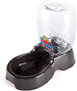 Flexzion Pet Water Dispenser Station, Black (1/4 Gallon) Auto Replenish Gravity Waterer Drinking Fountain Bottle Bowl Dish Portable Stand for Small Dog Cat Animal