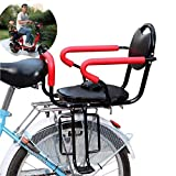 Wing Back Mount Child Seat for Adult Bike, Rear Child Carrier Bicycle Seat, with Cushion & Backrest Foot Pedals/Armrest and Detachable Fence, for 2-6 Year Old Child Seat, Hold Up to 50KG HJHY