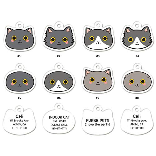 FURBB Cat ID Tags, Personalized Cat Tags Pet ID Tags Cute Unique Originality Design 144 Shapes Similar to Your Kitty, Name Tags Lightweight with up to 4 Lines of Custom Text Clear Easy to Read(2 Pack)