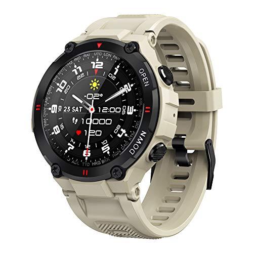 Reloj Inteligente Deportivo Reloj Militar Bluetooth Resistente al Agua con frecuencia cardíaca reproducción de música rastreador de Actividad al Aire Libre para Hombres Mujeres Android iOS (Beige)
