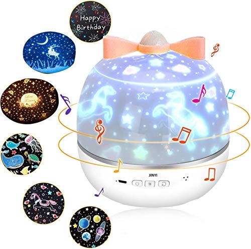 Lámpara de proyección, proyector de luz LED de cielo estrellado, caja de música, caja de regalo romántica, regalo de cumpleaños, se puede girar 360°, con tarjetas de felicitación.