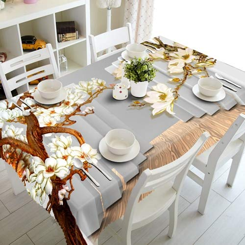 XXDD 3D Tablecloth European Sculpture Wallflower Waterproof Rectangular Table Cloth for Wedding A1 140x140cm
