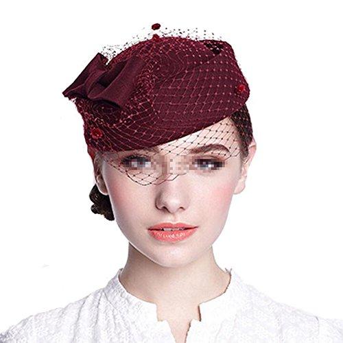 Tocado de cóctel para el cabello, con clip y lazo, de lana, para boda y fiestas, estilo retro, con tul, para mujer rojo borgoña talla única